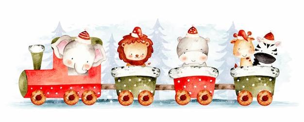 Akwarela ręcznie rysowane świąteczny pociąg ze zwierzętami safari