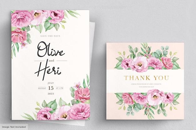 Akwarela ręcznie rysowane szablon karty zaproszenie na ślub kwiatowy