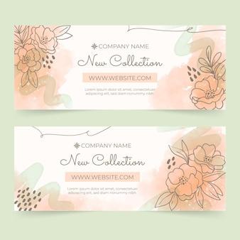 Akwarela ręcznie rysowane szablon kwiatowy banery