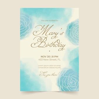 Akwarela ręcznie rysowane szablon zaproszenia na przyjęcie urodzinowe