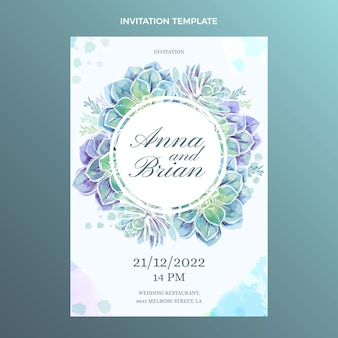 Akwarela ręcznie rysowane szablon zaproszenia ślubne