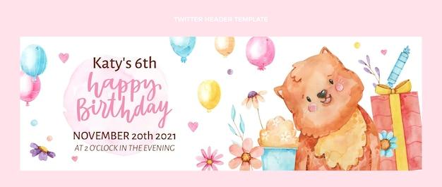 Akwarela ręcznie rysowane urodzinowy nagłówek twittera