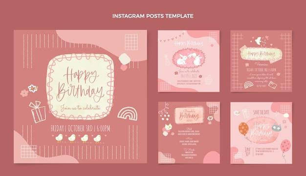 Akwarela ręcznie rysowane urodziny ig post