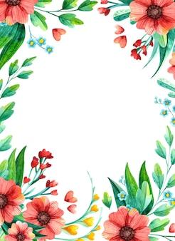 Akwarela ręcznie rysowane wiosenne kwiaty - pusta ramka.