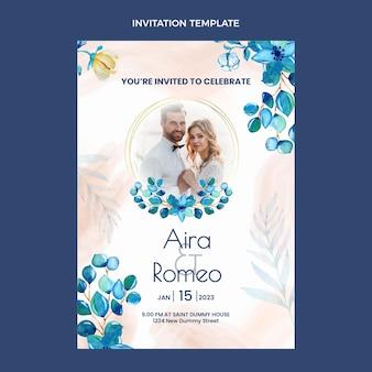 Akwarela ręcznie rysowane zaproszenie na ślub