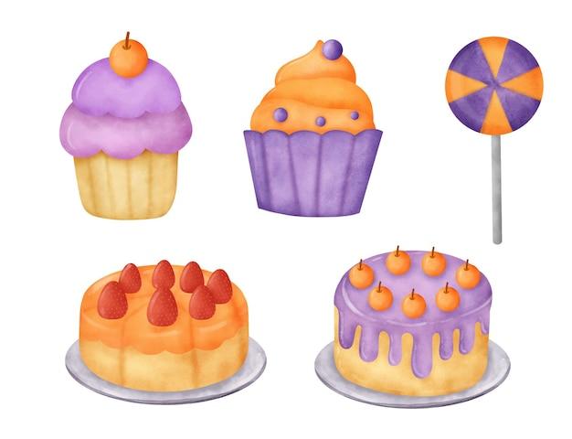 Akwarela ręcznie rysowane zestaw deserów