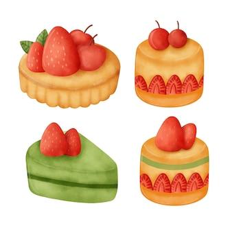 Akwarela ręcznie rysowane zestaw do ciasta.
