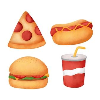 Akwarela ręcznie rysowane zestaw fast food.