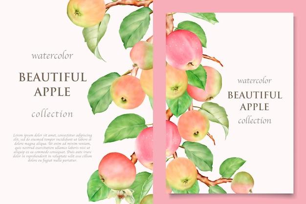 Akwarela ręcznie rysowane zestaw kart jabłkowych
