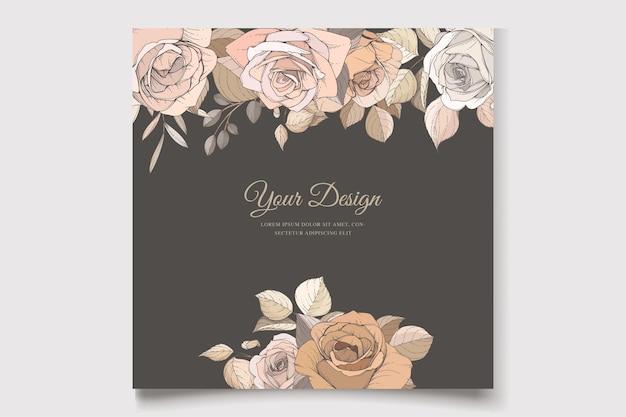 Akwarela ręcznie rysowane zestaw kart kwiatowy i liście