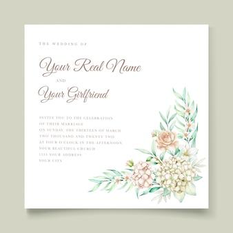 Akwarela ręcznie rysowane zestaw kart zaproszenie na ślub kwiatowy