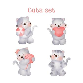 Akwarela Ręcznie Rysowane Zestaw Koty. Premium Wektorów