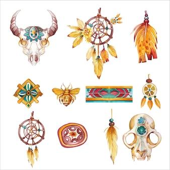 Akwarela ręcznie rysowane zestaw plemiennych boho rdzennych amerykanów