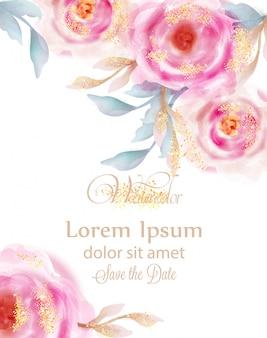 Akwarela różowe róże ze złotym brokatem