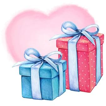 Akwarela romantyczne pudełka na prezenty w kolorze niebieskim i różowym