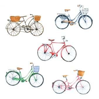 Akwarela rower ręcznie rysowane malowane