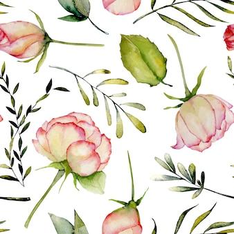 Akwarela róż, zielonych liści i gałęzi wzór