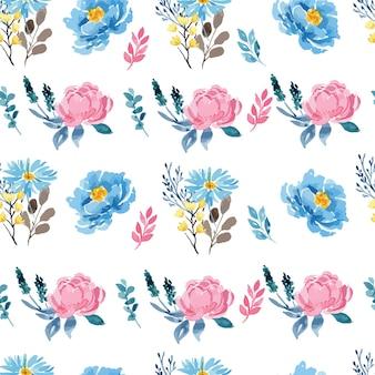 Akwarela róża różowa i niebieska piwonia kwiatowy wzór