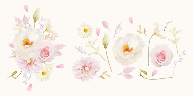Akwarela różana piwonia i kwiat dalii