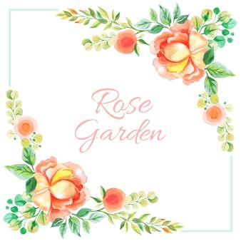 Akwarela różany ogród karty