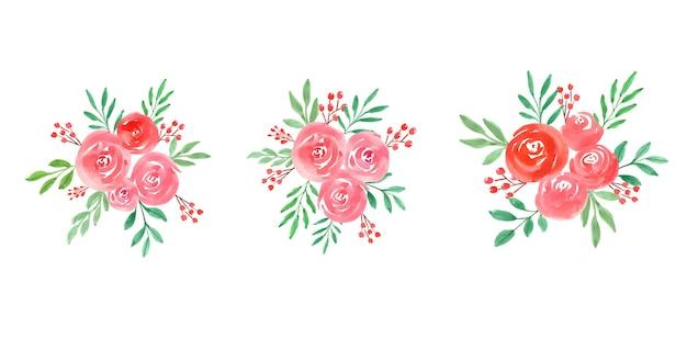 Akwarela róże kwiaty aranżacje na białym tle zestaw