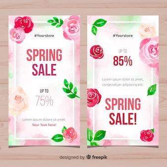 Akwarela róże wiosna transparent sprzedaż