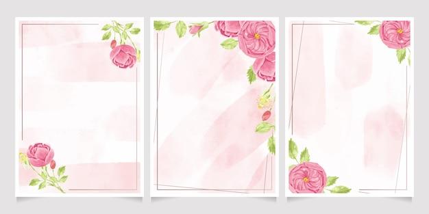 Akwarela różowa angielska róża z ramą, kolekcja szablonów zaproszeń