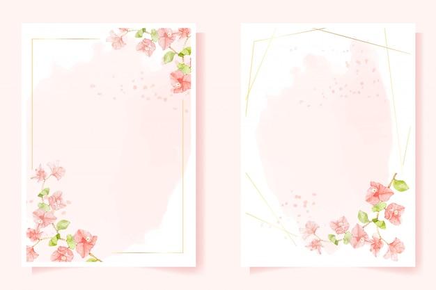 Akwarela różowa bougainvillea ze złotą ramą na ślub lub urodziny zaproszenie karta kolekcja szablonów 5x7