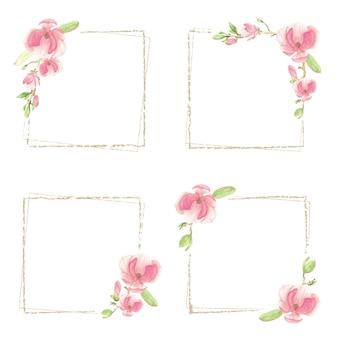 Akwarela różowa magnolia kolekcja minimalnych kwadratowych ramek