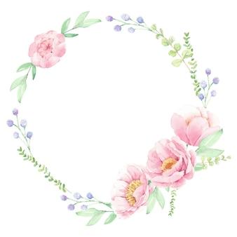 Akwarela różowa piwonia bukiet kwiatów układ wieniec rama