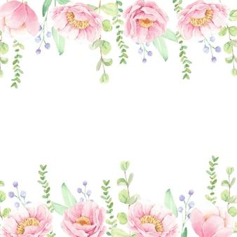 Akwarela różowa piwonia kwiat bukiet tło ramki