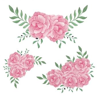 Akwarela różowa piwonia kwiat zestaw dekoracji