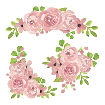 Akwarela różowa róża kompozycja kwiatowa kolekcja