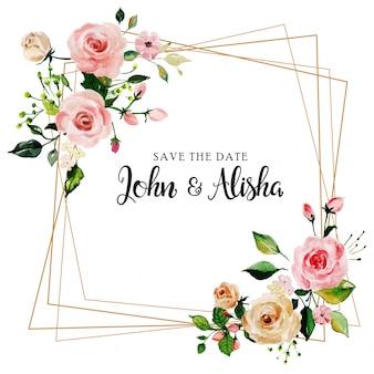 Akwarela różowa róża kwiecista ślubna zaproszenie karta