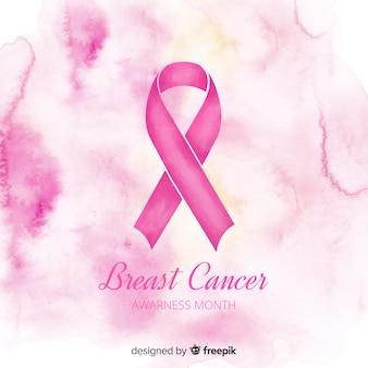Akwarela różową wstążką na symbol świadomości raka piersi