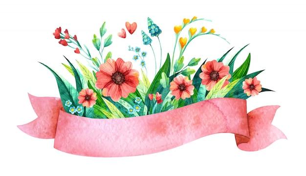 Akwarela różową wstążką z kwiatami. kwiatowe elementy na wiosenne zaproszenie na ślub.