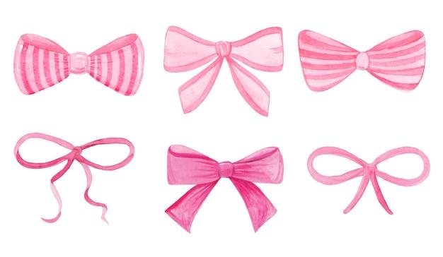 Akwarela różowe kokardki zestaw na białym tle