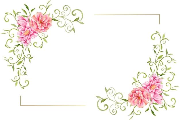 Akwarela różowe kwiaty i liście