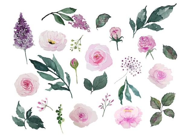 Akwarela różowe kwiaty i zielone liście zestaw