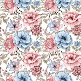 Akwarela różowe kwiaty niebieskie tło wzór