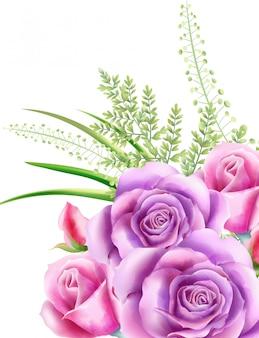 Akwarela różowe kwiaty róży z zielonymi liśćmi na