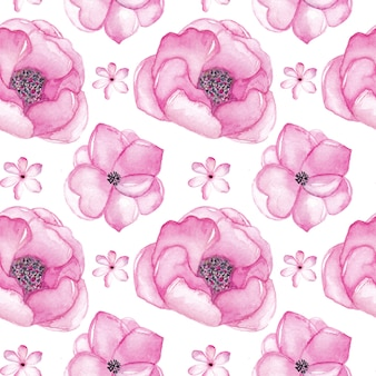 Akwarela różowe kwiaty wzór