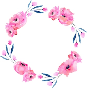 Akwarela różowe maki i niebieskie gałęzie wieniec