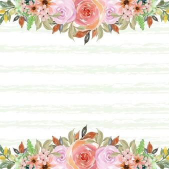 Akwarela różowe róże rama z miejsca na kopię