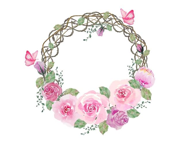 Akwarela różowe róże wieniec kwiatów z ramą pierścieniową z gałęzi korzenia okręgu