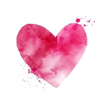 Akwarela różowe serce kształt sztuki ręcznie malowane na białym tle