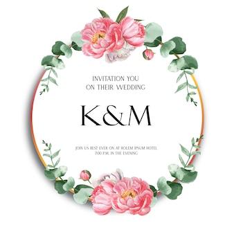 Akwarela różowe wieńce piwonia kwiaty z tekstem