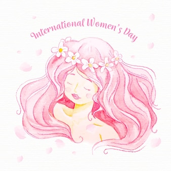 Akwarela różowe włosy na dzień kobiet