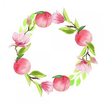 Akwarela różowy chiński magnolia i ramka wieniec brzoskwiniowy