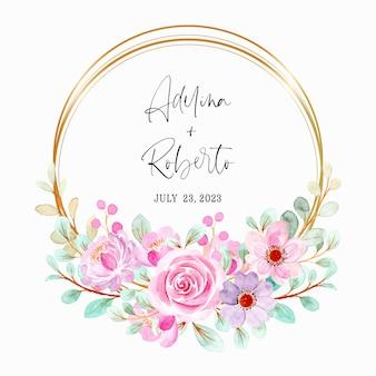 Akwarela różowy fioletowy wieniec kwiatowy ze złotą ramą